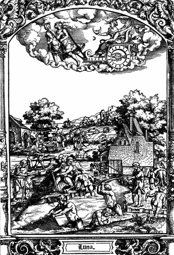 月球(由羅馬女神露娜在戰車上代表)及其星象特徵。1530年代漢斯·塞巴爾德·貝漢姆(Hans Sebald Beham)創作的木刻畫。