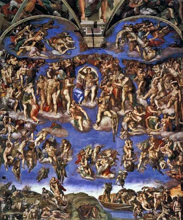 米開朗基羅1541年的最後審判。這是米開朗基羅對西斯廷教堂的裝飾的一部分。在這裡,基督自己行事,參與了實際的事,而瑪麗是悲痛的見證人。他沒有比其他人大很多,但是佔據了中心位置。誰去天堂,誰去地獄還不清楚。每個人似乎都受苦。無論正義有何規定,米開朗基羅都專注於這一切的悲劇。