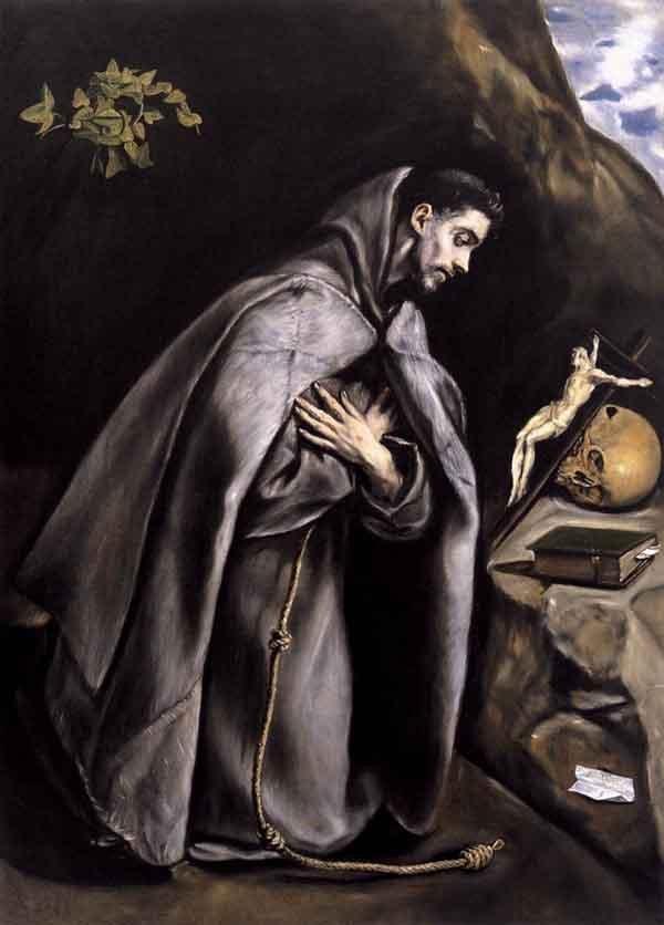 聖弗朗西斯沉思。El Greco氣喘吁籲c。1595年。埃爾·格列柯(El Greco)還製作了該主題的其他版本,這似乎給他帶來了慰藉。這個中世紀修道士的冥想與我們現在所知道的東方技巧完全不同,但是通過他對基督的信仰仍然使他安心。因此,他的眼睛在十字架上。