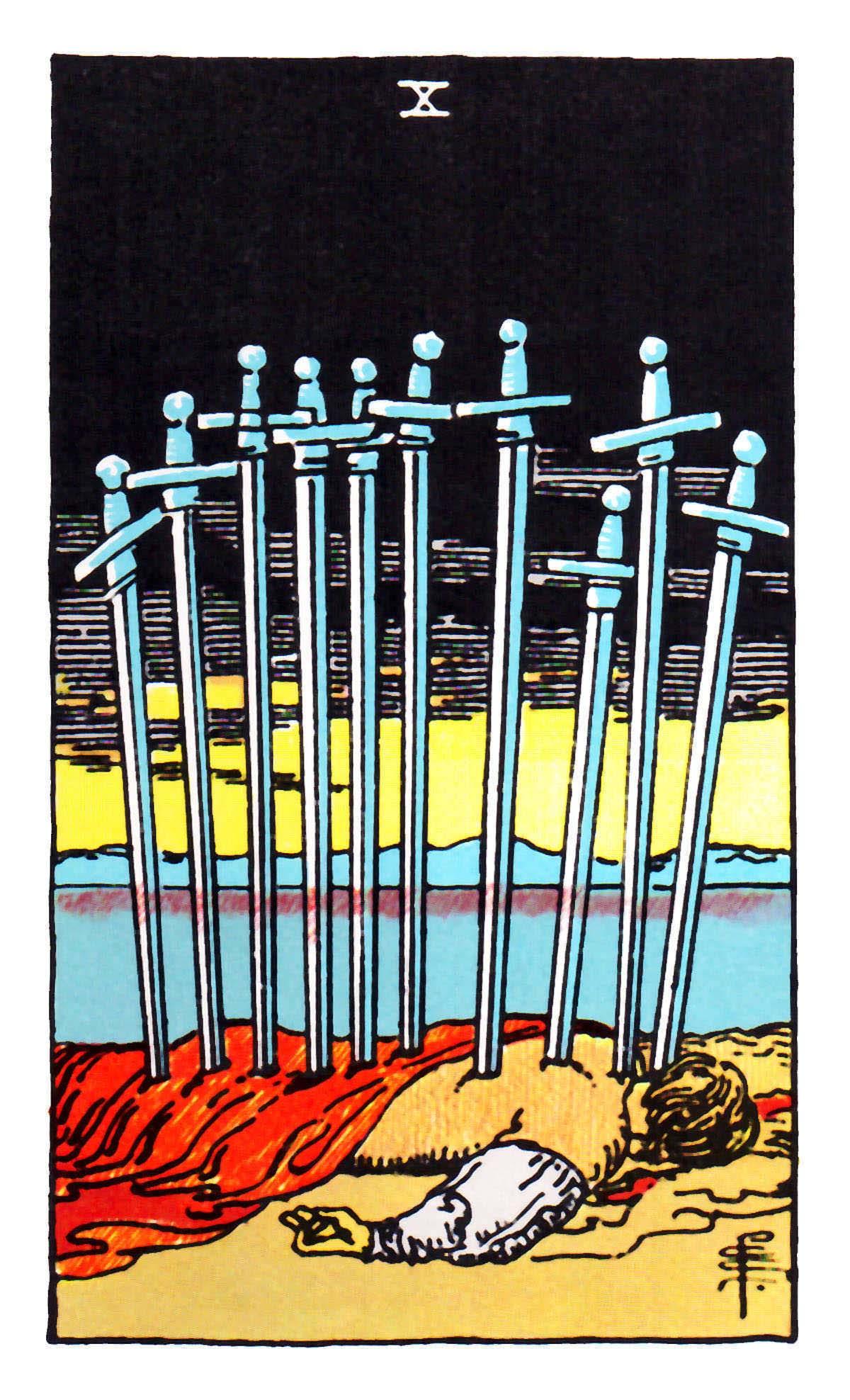 寶劍十 Ten of Swords 塔羅牌牌意
