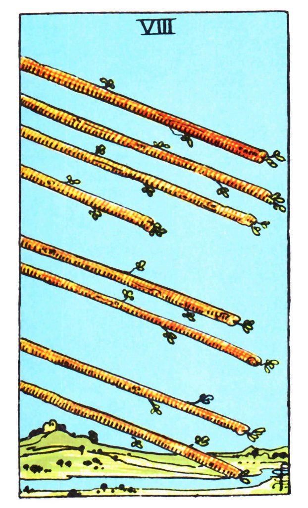 權杖八 Eight of Wands 塔羅牌牌意